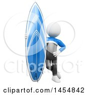 Clipart Graphic Of A 3d White Man Surfer Standing With A Board On A White Background Royalty Free Illustration