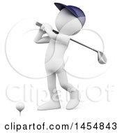 Poster, Art Print Of 3d White Man Golfing On A White Background