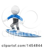 Clipart Graphic Of A 3d White Man Surfing On A White Background Royalty Free Illustration