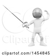 Poster, Art Print Of 3d White Man Fencing On A White Background