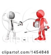 3d White Man Fencing A Red Guy On A White Background
