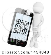 Clipart Graphic Of A 3d White Man Leaning On And Presenting A Smart Phone With A Qr Code On Screen On A White Background Royalty Free Illustration