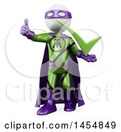 April 24th, 2017: Clipart Graphic Of A 3d White Man Super Hero Holding A Thumb Up And A Check Mark On A White Background Royalty Free Illustration by Texelart