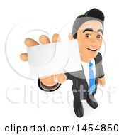 April 24th, 2017: Clipart Graphic Of A 3d Business Man Holding Up A Business Card On A White Background Royalty Free Illustration by Texelart