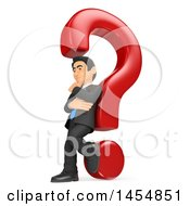 Clipart Graphic Of A 3d Business Man Leaning Against A Question Mark On A White Background Royalty Free Illustration