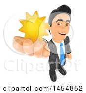 3d Business Man Holding Up A Sun On A White Background