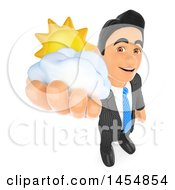 3d Business Man Holding Up A Sun And Cloud On A White Background