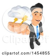 3d Business Man Holding Up A Lightning Storm Cloud On A White Background