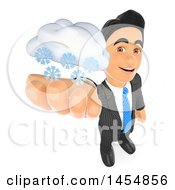 3d Business Man Holding Up A Snow Cloud On A White Background