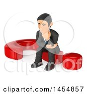 Clipart Graphic Of A 3d Business Man Sitting On A Question Mark On A White Background Royalty Free Illustration