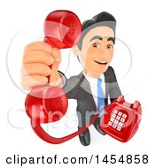 Clipart Graphic Of A 3d Business Man Holding Up A Landline Telephone On A White Background Royalty Free Illustration
