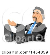 Clipart Graphic Of A 3d Business Man With His Feet Up On His Desk Talking On A Cell Phone On A White Background Royalty Free Illustration