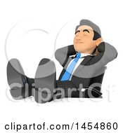 3d Business Man Relaxing With His Feet Up On His Desk On A White Background
