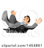 3d Business Man Falling Backwards From Having His Feet Up On His Desk On A White Background