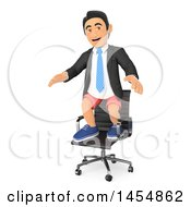 April 24th, 2017: Clipart Graphic Of A 3d Business Man Wearing Shorts And Standing On An Office Chair On A White Background Royalty Free Illustration by Texelart