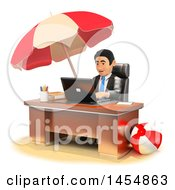 Clipart Graphic Of A 3d Business Man Daydreaming That Hes Working On A Beach On A White Background Royalty Free Illustration