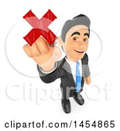 Clipart Graphic Of A 3d Business Man Drawing A Red X On A Transparent Board On A White Background Royalty Free Illustration