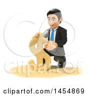 Poster, Art Print Of 3d Business Man Making A Dollar Currency Symbol On A Beach On A White Background
