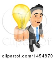 Clipart Graphic Of A 3d Business Man Holding Up An Idea Bulb On A White Background Royalty Free Illustration by Texelart