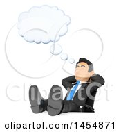 3d Business Man Dreaming With His Feet Up On His Desk On A White Background