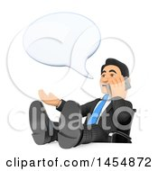 3d Business Man With His Feet Up On His Desk Talking On A Smart Phone On A White Background