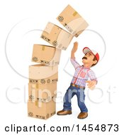 3d Man By A Pile Of Falling Boxes On A White Background