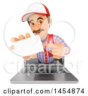 Clipart Graphic Of A 3d Man Emerging From A Computer Screen And Holding Out A Business Card On A White Background Royalty Free Illustration