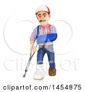 3d Injured Worker Man On A White Background