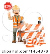 3d Man Construction Worker Holding A Stop Sign By A Barrier On A White Background