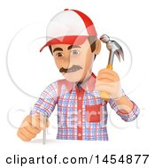 Poster, Art Print Of 3d Man Carpenter Hammering A Nail On A White Background