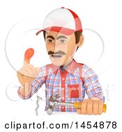 3d Man Carpenter With A Hurt Thumb While Missing Hammering A Nail On A White Background