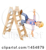 3d Man Worker Falling From A Ladder On A White Background