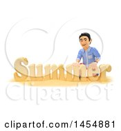 Clipart Graphic Of A 3d Man With The Word Summer Made From Sand On A White Background Royalty Free Illustration by Texelart