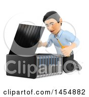 3d Man Working On A Server On A White Background