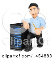 3d Man By A Server On A White Background