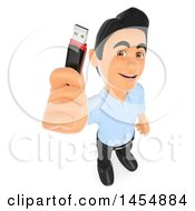 3d Man Holding Up A Usb Memory Stick On A White Background