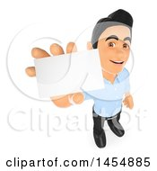Clipart Graphic Of A 3d Man Holding A Business Card On A White Background Royalty Free Illustration