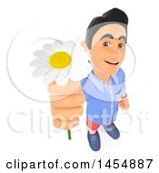 Clipart Graphic Of A 3d Man Holding Up A White Daisy Flower On A White Background Royalty Free Illustration