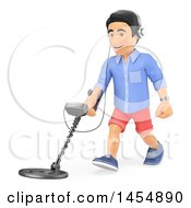 Clipart Graphic Of A 3d Man Using A Metal Detector On A White Background Royalty Free Illustration