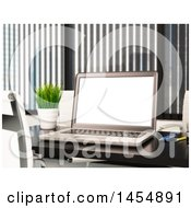Clipart Graphic Of A 3d Laptop Computer On A Meeting Table Royalty Free Illustration