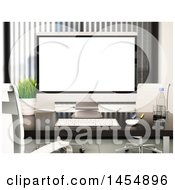 Clipart Graphic Of A 3d Desktop Computer In An Office Royalty Free Illustration by Texelart