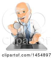 3d Doctor Emerging From A Laptop With A Stethoscope On A White Background