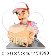 3d Delivery Man Emerging From A Computer Screen And Holding Out A Box On A White Background