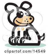 Cute Dog Sitting Clipart Illustration