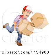 3d Man Dropping Boxes On A White Background