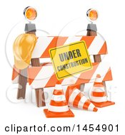 Poster, Art Print Of 3d Under Construction Barrier On A White Background