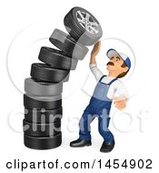 3d Man Mechanic By A Falling Stack Of Tires On A White Background