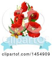 Red Poppy Flower Design Element