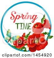 Red Poppy Flower Spring Time Season Design Element