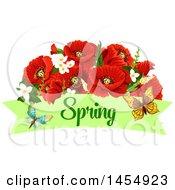 Poster, Art Print Of Red Poppy Flower Spring Time Season Design Element